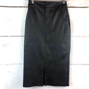 Alice + Olivia Valeri Leather Pencil Skirt Slit 0